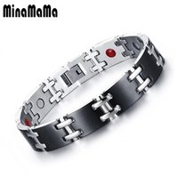 Wholesale infrared bracelet resale online - Energy Health Bracelets for Woman Men Black Gold Color Stainless Steel Negative Ion Far Infrared Magnetic Therapy Bracelet