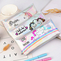 Wholesale stationery supplies for school children resale online - Unicorn Pencil Case School Pencil Cases For Girls Rainbow Holographic Bag School Supplies Kawaii Stationery Children Gift