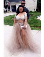 importiert plus size kleider großhandel-African Champagne Plus Size Prom Dresses mit V-Ausschnitt Perlen 2019 Langarm Imported Party Dress
