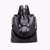 Wholesale backpack faux leather for sale - Group buy 2018 New Style Fashion Cool Women Bow Girls Ladies Backpack Solid Travel Shoulder Bag Faux Leather Rucksack