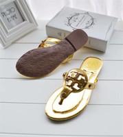 sandales de marque filles achat en gros de-Marque En Cuir Slipper Diapositives Pour Femme Dame Fille Mme Designer Tory Miller Sandale Chaussures Plates Jelly Mini Miller Thong Sandales Flip Flop Mocassins