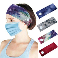 bandeaux hommes achat en gros de-Bandeau Bouton pour les infirmières Femmes Hommes Yoga Sport Workout Turban Tie Dye Head Wrap bande élastique cheveux JK2006XB