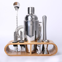 Wholesale bamboo wine set for sale - Bartending Kit Cocktail Shaker Set Kit Bartender Kit Shakers Stainless Steel piece Bar Tool Set With Stylish Bamboo Stand C19041701