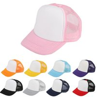 Wholesale trucker ball caps online - Kids Mesh Blank Trucker Cap Patchwork Hat Summer Hip Hop Hat Children Baseball Caps Baby Fashion Sunhats Visor AAA1064