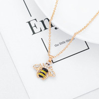 ожерелья насекомых кулон оптовых-Ожерелье Пчела Ожерелье от насекомых Шампанское Циркон Золотой Цвет Бижутерия Вечеринка Обручальное колье