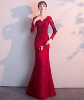 508052e08 Novia tostada 2019 Primavera moderno rojo largo manga larga delgada cola de  pez boda cena de agradecimiento vestido mujer