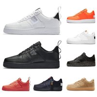высокие кроссовки оптовых-Nike AIR FORCE 1 shoes черный белый замочить Мужчины Женщины Повседневная обувь красный один Спорт скейтбординг высокая низкая вырезать пшеницы кроссовки Кроссовки 36-45