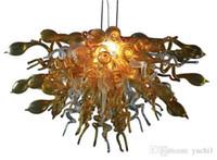 pendentif en murano à la main achat en gros de-Cristal moderne sur mesure forme d'or lustre en verre éclairages Plafond moderne décoratif ampoules LED lampes à la main en verre de Murano