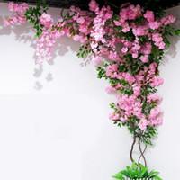 Wholesale flower napkin rings weddings resale online - Artificial Cherry tree Vine Fake Cherry Blossom Flower Branch Sakura Tree Stem for Event Wedding Tree Deco Artificial Decorative Flowers