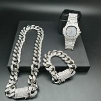 könig armband großhandel-2 cm Hip Hop Gold Farbe Iced Out Kristall Miami Kubanische Kette Gold Silber Herrenuhr Halskette Armband Set Hip Hop King Neu