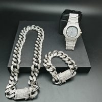 Wholesale new rope watch resale online - 2cm Hip Hop Gold Color Iced Out Crystal Miami Cuban Chain Gold Silver Men Watch amp Necklace amp Bracelet Set Hip Hop King New
