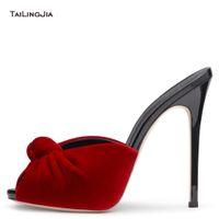 ingrosso sandali neri rosa-Donne tacco alto annodato muli 2018 signore sexy nero rosso velluto scarpe estive sandali con punta aperta partito abito da sera tacchi grande formato