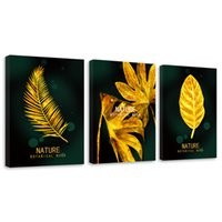 Wholesale set wall art panels online - Amosi Art Golden Leaf and Letter Picture Canvas Wall Art Artwork Set of Piece Framed Art Painting Wooden Framed for Living Room Decoration