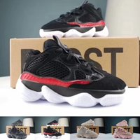 Wholesale baby shoes boys girls for sale - With Box Kids Wave Runner Blush Desert Rat Super Moon Yellow Running Shoes Baby Boy Girl Kanye West Sneakers