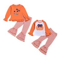 ingrosso bambino del vestito della zucca-Baby Girl Cartoon Set Halloween Girl Ruffle manica lunga zucca Top Camicia Kids Designer Abbigliamento neonato Baby Girl Stripe Speaker Pants Suit