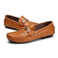 ingrosso mocassin uomini scarpe mocassini-Big Size 49 50 Scarpe da uomo in vera pelle di mocassino Scarpe da uomo in pelle di coccodrillo morbido Moda Slip On Loafers 8