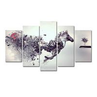 zebra yağı tuvali toptan satış-5 Adet Kombinasyonları HD soyut Serin sanat fragmentary zebra Çerçevesiz Tuval Boyama Duvar Dekorasyon Baskılı Yağlıboya posteri
