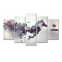zebra öl leinwand großhandel-5 Stücke Kombinationen HD abstrakte Kühle kunst fragmentarischen zebra Ungerahmt Leinwand Malerei Wanddekoration Gedruckt Ölgemälde poster