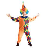 ingrosso clown arancione-Bambini Bambino divertente arancione Plaid Circo Clown Costume i ragazzi Halloween Purim travestimento di carnevale Mardi Gras Partito Outfit