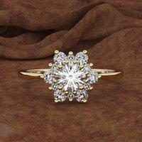 joyas de boda copos de nieve al por mayor-D. joyería al por mayor blanco Anillos de Boda Anillo de copo de nieve creativo moda tendencia de simulación de diamantes joyería de la mano de las mujeres