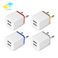 Wholesale cell phone wall power adapter online – Vitog Dual USB wall Charger US EU Plug A AC Power Adapter Wall Charger Plug port for cell phone chargers