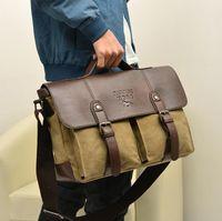 multifunktionsleder umhängetasche großhandel-Leder Canvas Umhängetasche für Männer Frauen - Vintage Messenger Business Umhängetasche - Multifunktions Outdoor Mens Bag (3 Farben)