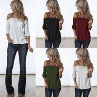 les usines vendent des vêtements achat en gros de-2019 Femmes d'été t-shirt Sexy Slash Neck Bell Sleeve Couleur pure designer designer Womens vente chaude vêtements pour femmes Chine usine