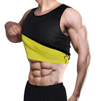 entrenadores de cintura de gimnasio al por mayor-Hot Shaper Nature Latex Ultra Sweat Neoprene Shirt Gym Vest Fajas Hombres Sauna Sweat Body Shaper Cintura Cincher Tummy Trainer Muscle Man