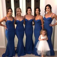 robe de bal de marine achat en gros de-Bleu marine Spaghetti sirène demoiselle d'honneur robe pas cher longue ouverte dos chérie mariage invité robe de soirée robes de soirée