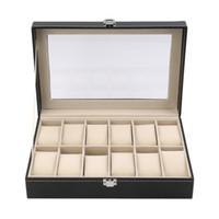 Wholesale locked display cases resale online - 12 Slots Grid PU Leather Watch Display Box Jewelry Storage Organizer Case Locked Watch Display Casket With Black Color