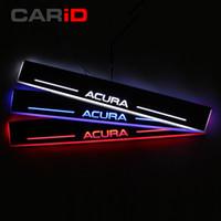 lider karşılama plakası toptan satış-LED Araba Itişme Plaka Trim Pedalı Kapı Eşiği Yolu Acura TLX 2015 2016 Için Karşılama Işık Hareketli Su Geçirmez Akrilik Yüksek kalite