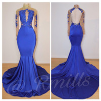 Wholesale blue prom dresses for sale - 2019 See Through Long Sleeves Mermaid Prom Dresses Keyhole Neck Mermaid Elegant Evening Gowns Formal Wear Plus Size Celebrity Dress