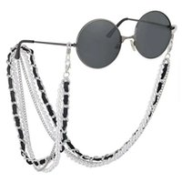 roping artificial venda por atacado-Hottest designer de luxo óculos de sol anti-slip cadeia de metal + pérola artificial + corda de couro cordão pescoço retentor de silicone laço