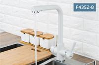 nuevos grifos de diseño al por mayor-Nuevo Mezclador de grifo negro para fregadero de cocina Diseño de siete letras Rotación de 360 grados Grifo de purificación de agua Serie de doble mango F4352