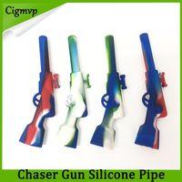 pistolas de cera al por mayor-Rifle Tubo de silicona con tazón de metal Plataforma petrolera Hookah Wax Pen Tubos para fumar 420 Pistola pequeña Sneak A Toke 0266201