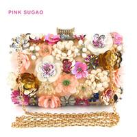 ingrosso le signore fatte a mano insaccano borse-cena progettista sacchetto della signora borsa a tracolla di sera sacchetto di perline rosa Sugao borse catena di lusso donne borse a tracolla fiore di colore a mano