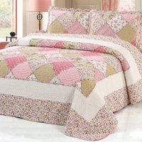 ingrosso regali rosa rosa set di biancheria da letto floreale-100% cotone rosa floreale copriletto plaid patchwork copriletto copriletto set quilte queen size 3 pezzi set copriletto cuscino fodere