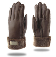 многоцветные пальцы теплые перчатки оптовых-Зима матовая кожа с меховыми перчатками унисекс дизайнер PU кожа женщины пять пальцев перчатки 3 цвета бренда