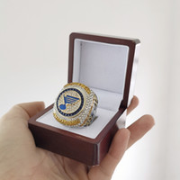 Wholesale cup gift set resale online - 2019 ST LOUIS BLUES STANLEY CUP CHAMPIONSHIP RING With Wooden Display Box Fan Men Gift Drop Shipping