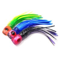 Wholesale trolling lures heads for sale - Group buy 6 inch colors trolling fishing lures Big game soft head octoputs skirt saltwater fishing baits