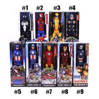 figuras de hombre de hierro juguetes al por mayor-El Avengers Acción PVC Figuras Marvel Heros 30cm Iron Man Capitán América Ultron Wolverine figura juguetes