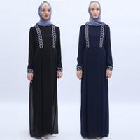 cristales negros para la ropa al por mayor-Oriente Medio Vestidos musulmanes modestos con mangas largas de cristal Mujeres árabes Ropa étnica Negro y azul marino Vestidos M-001