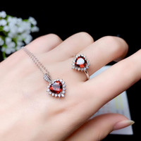 Wholesale peach gemstone for sale - Group buy Romantic lovely heart Peach Natural red garnet Pendant ring Natural Gemstone Jewelry Set S925 Silver Women wedding gift jewelry