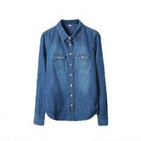 ingrosso jeans camicie lunghe stile di moda-Plus Size Vetement Fashion Style Abbigliamento donna Camicetta maniche lunghe Camicia casual in denim Nostalgico Vintage Blue Jeans Camicia Camisa J190614