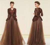 longues et élégantes robes marron achat en gros de-Élégant Brun 2019 Plus La Mère De La Mariée Robes De Mariée 34 Robe De Soirée En Dentelle Tulle Mère Dentelle Robe De Soirée A-line