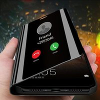 ingrosso flip cover iphone vista-2019 Custodia per cellulare Smart Mirror di lusso con vista trasparente per iPhone 11 XR XS MAX X 8 7 6s Plus Custodie Flip Stand Custodia in pelle antiurto