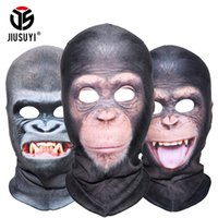 Wholesale funny winter face masks resale online - 3D Animal Balaclava Orangutan Chimpanzee Ferocious Funny Thermal Wool Fleece Winter Neck Warmer Full Face Mask Halloween Party