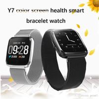 medidor hombre al por mayor-Pulsera inteligente reloj medidor de ritmo cardíaco paso pantalla en color pulsera salud hombres y mujeres correa de silicona impermeable pulsera deportiva