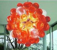bolhas de luz de suspensão venda por atacado-Bolha de vidro laranja Candelabro Iluminação Suspension Lighting New Arrival Mão Blown bolha de vidro Candelabro com Lâmpadas LED