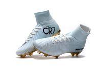 zapatos cr7 blancos al por mayor-Venta caliente Oro Blanco CR7 Tacos de fútbol Mercurial Superfly FG V Niños Zapatos de fútbol Cristiano Ronaldo